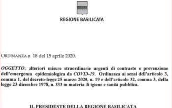 """L'ORDINANZA DEL 15 APRILE DELLA REGIONE BASILICATA """"ALLENTA UN PO' LE BRIGLIE"""""""